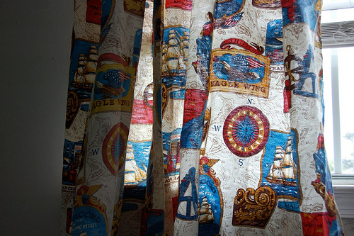 new (vintage coverlet) playroom curtains