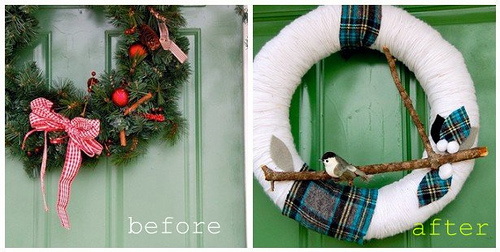 Wreaths - before & after