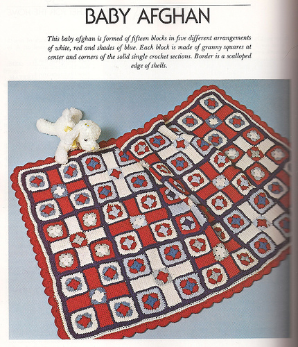 red, white blue granny afghan